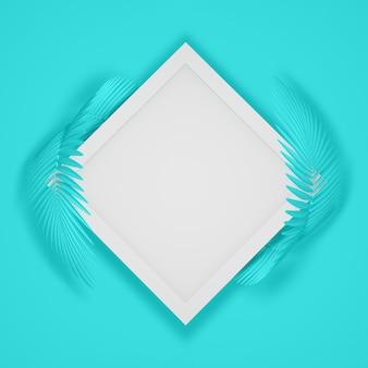 2つの丸みを帯びたふわふわのヤシの葉で囲まれた正方形のフレームの抽象的なモダンな背景。 3d illustration.3dレンダー