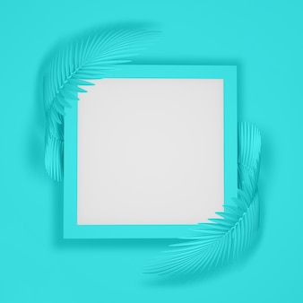 2つの丸みを帯びたふわふわヤシの葉に囲まれた正方形のフレームの抽象的な現代的な背景。 3d illustration.3d render