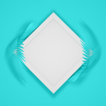 Abstract modern background of a square frame surrounded by two rounded fluffy palm leaves. 3d illustration.3d render