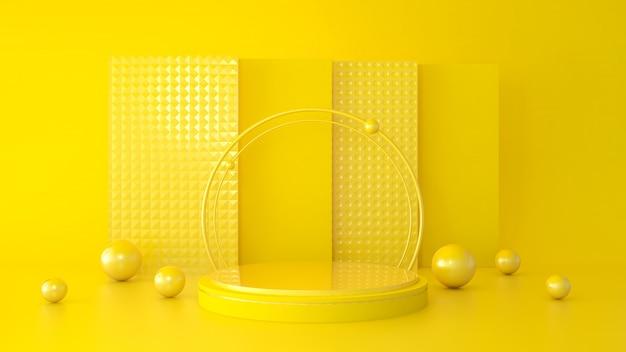 製品のプレゼンテーション、3 dレンダリングのための幾何学的形状の表彰台と抽象的な現代的な背景