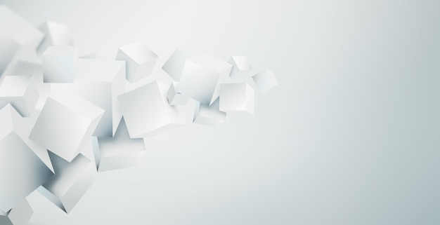 Abstract modern d background with white cubes