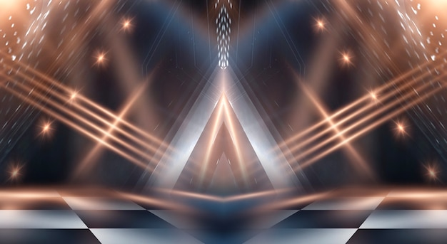 光線と線で抽象的な現代の暗闇。