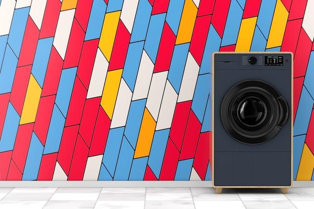 Стиральная машина абстрактной современной моды элегантная деревянная перед крупным планом стены абстрактных красочных геометрических блокируя формы крайним. 3d рендеринг