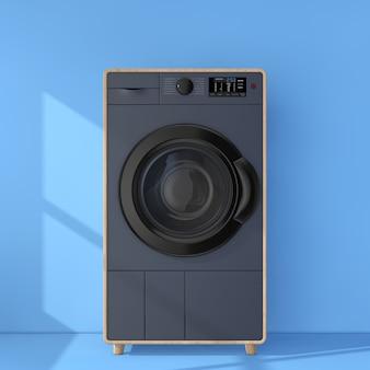 Абстрактная современная мода элегантная деревянная стиральная машина перед синей кирпичной стеной 3d-рендеринга