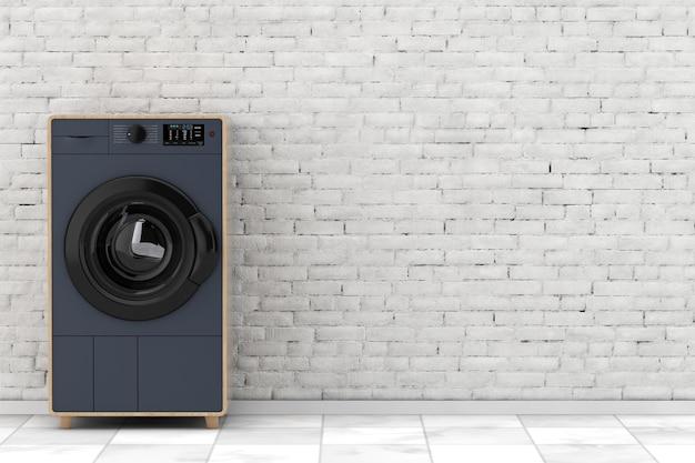Стиральная машина абстрактной современной моды элегантная деревянная перед крупным планом крайней белой кирпичной стены. 3d рендеринг