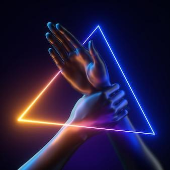추상적 인 현대 최소한의 개념, 빛나는 삼각형 프레임 안에 마네킹 손