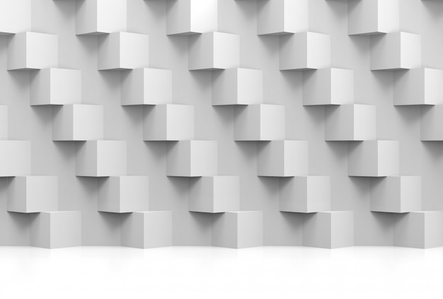 Abstract modern stack of random luxury white cube boxes wall