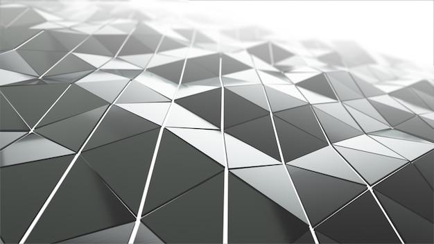ガラスから滑らかな多角形の表面を振るの抽象的な現代技術の背景