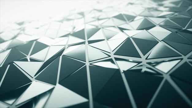 滑らかな多角形の表面を振っての抽象的な現代技術の背景