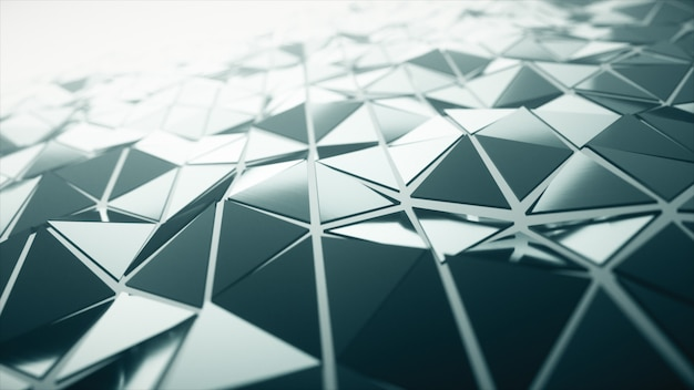 Abstract modern technology background of waving smooth polygonal surface