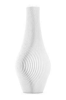 白い背景の上の抽象的な現代の白い波形のワセ。 3dレンダリング