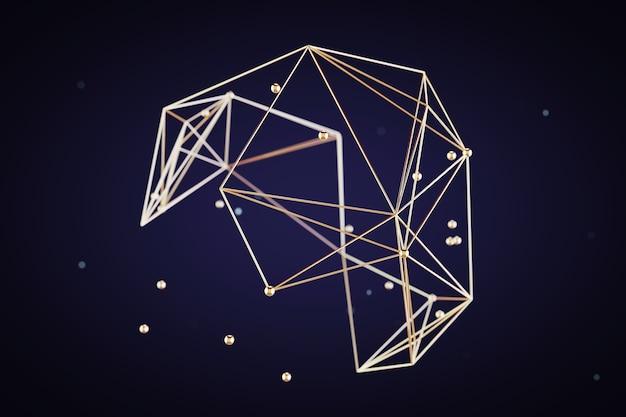 추상 분자 또는 통신 개념 극단적인 근접 촬영입니다. 3d 렌더링