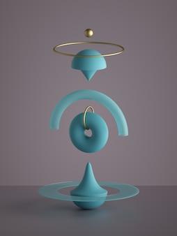 分離された抽象的なモノクロの青い幾何学的形状