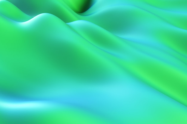 Abstract motion background. green modern fluid noise background. deformed surface with smooth reflections and shadows. 3d illustration