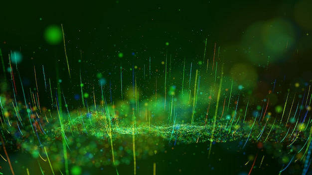Abstract motion background shining green and colorful dust particles glow, wave and grow up movement.
