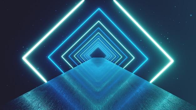 抽象的な動きの幾何学的な背景、回転トンネル、ブルーピンクパープルスペクトル、蛍光紫外光、モダンなカラフルな照明、3 dイラストレーションを作成する輝くネオンの正方形