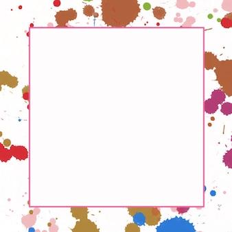 正方形のフレームと抽象的なマルチカラーの水彩画の背景