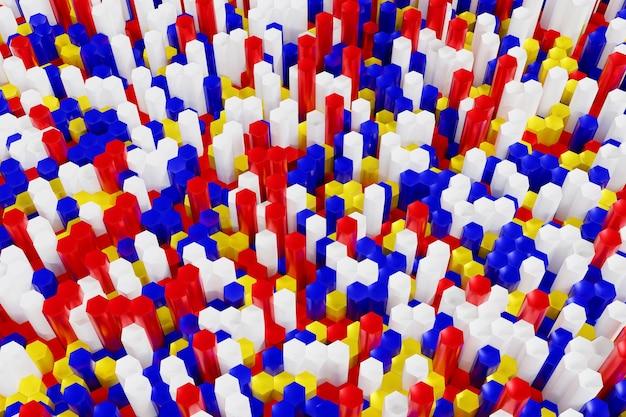 추상 여러 가지 빛깔의 빨간색 파란색 노란색과 흰색 육각형 배경