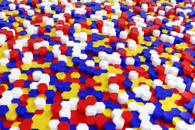 Abstract multicolor red blue yellow and white hexagon background 3d rendering.