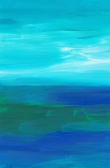 Абстрактный разноцветный фон, мазки кистью синий, зеленый, белый на бумаге