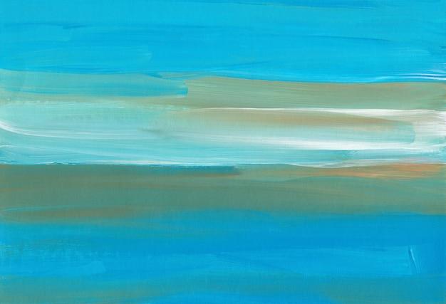Абстрактный разноцветный фон, синие, белые и желтые мазки на бумаге