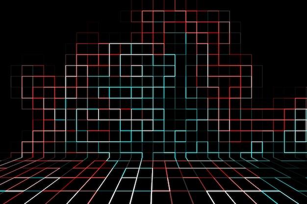 원근감 있는 벽에 선과 사각형이 있는 추상적인 여러 가지 빛깔의 배경.
