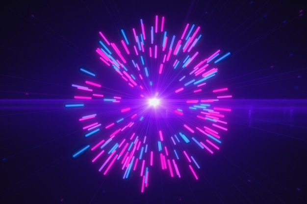 Abstract multicolored blasts of digital neon fireworks