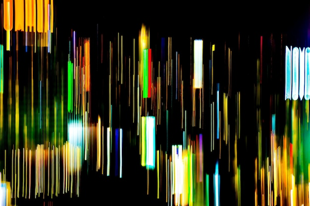 Abstract of multicolored city lights beams in motion