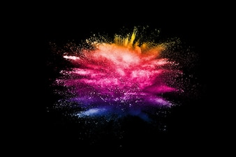 Abstract multicolored powder dust explosion.