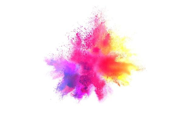 抽象的な多色粉体爆発