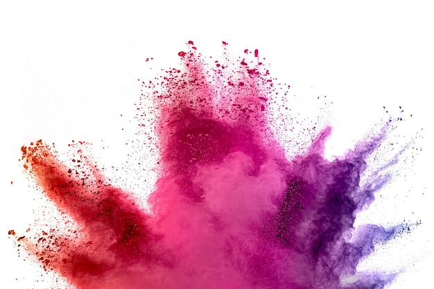 흰색 배경에 추상적인 여러 가지 빛깔의 가루가 튀었습니다. 색상 가루가 폭발하는 동작을 고정합니다.