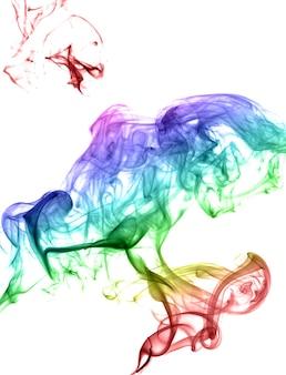 明るい背景に抽象的な色とりどりの煙