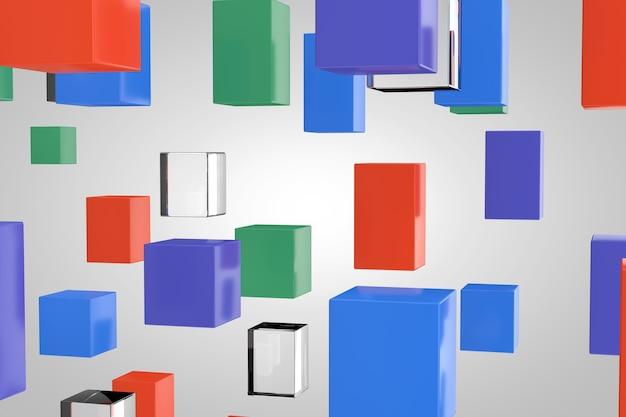 추상 다 색 및 유리 블록 큐브 배경 극단적인 근접 촬영입니다. 3d 렌더링