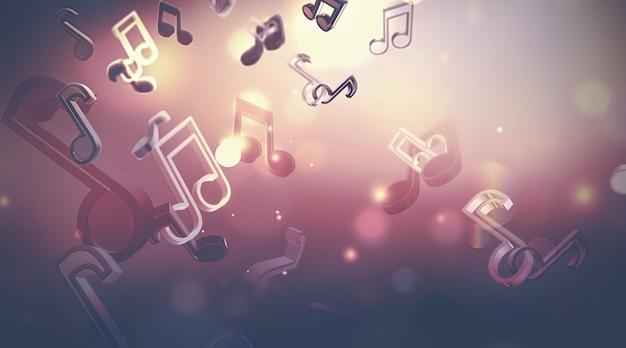 Абстрактный музыкальный фон с нотами, дизайн трехмерного изображения