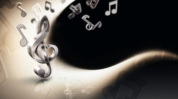 Абстрактный музыкальный фон с нотами и концепцией изображения скрипичного ключа d