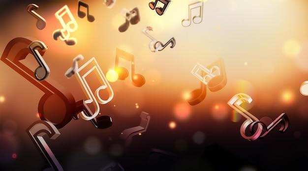 Абстрактный музыкальный фон с нотами d дизайн изображения