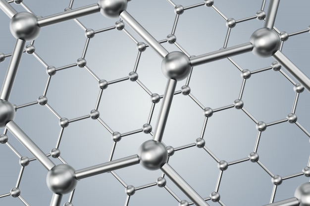 Abstract nanotechnology hexagonal geometric form close-up