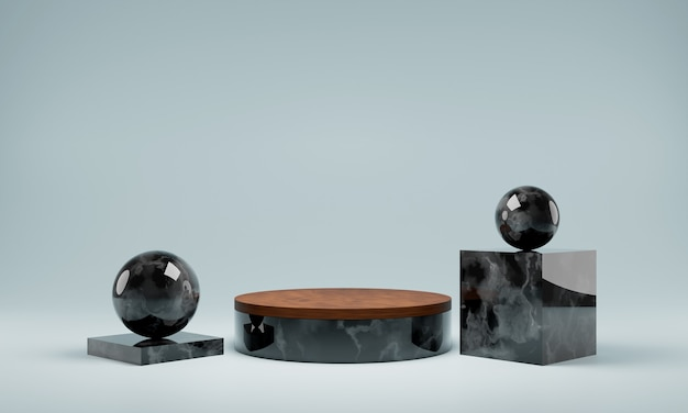 Abstract natural marble black podium. scene for product, luxury  podium, 3d rendering