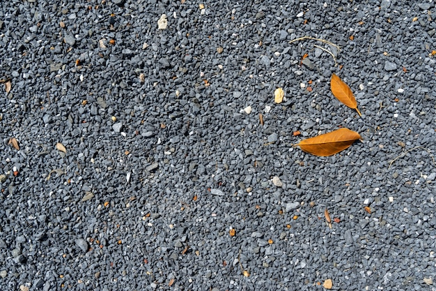 Abstract natural pattern of grey gravel surface background floor with yellow dried tree le