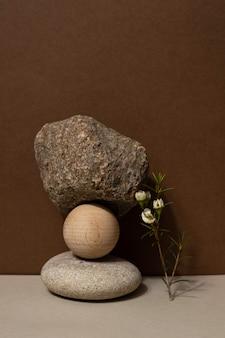 石と乾いた枝の構成で抽象的な自然シーン。化粧品、美容製品のブランディング、アイデンティティ、パッケージングのためのニュートラルベージュの背景。自然なパステルカラー。コピースペース、正面図。