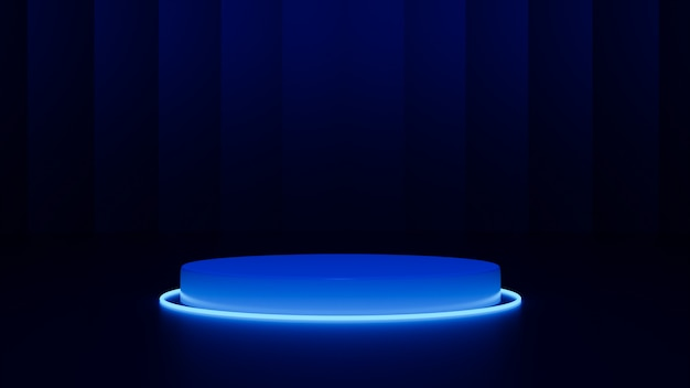 Abstract neon background.cylinder platform, shiny metallic podium with round glowing frame. 3d render