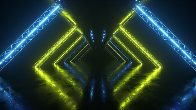 Abstract neon background flying forward through the corridor, glowing green blue lines appear. 3d illustration