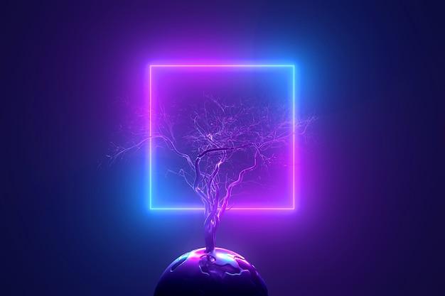 抽象的なネオンの背景、光の中で丸い惑星を介して発芽している壊れた枝を持つ神秘的な葉のない木