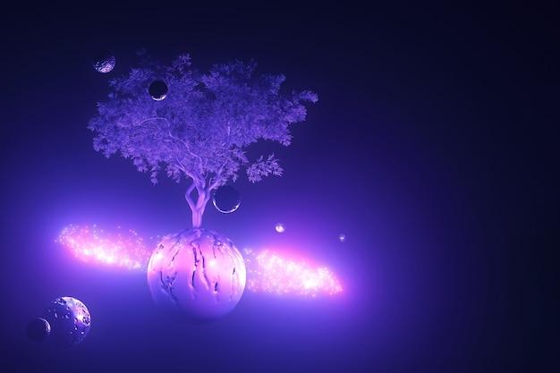 抽象的なネオンの背景、雲のリングで光るピンクブルーの紫外線の光の中で木と神秘的な宇宙芸術