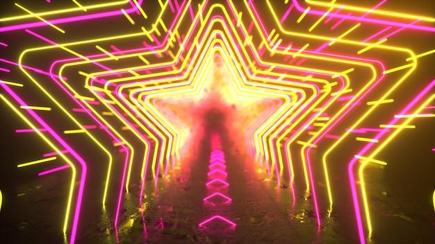 추상 네온 배경 네온 별과 선은 공간 반사 미래 배경을 통해 이동합니다.
