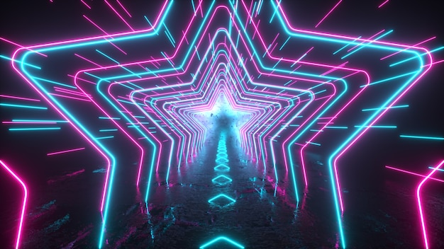 Abstract neon background neon stars and lines move through space reflection futuristic background