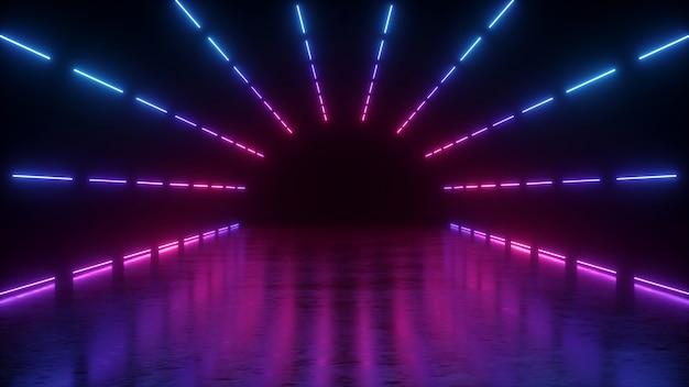 ピンクブルーの輝くラインの抽象的なネオンの背景