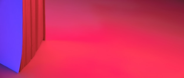 Abstract neon banner, paper pages of a book. vibrant blue and red gradient colors as a background