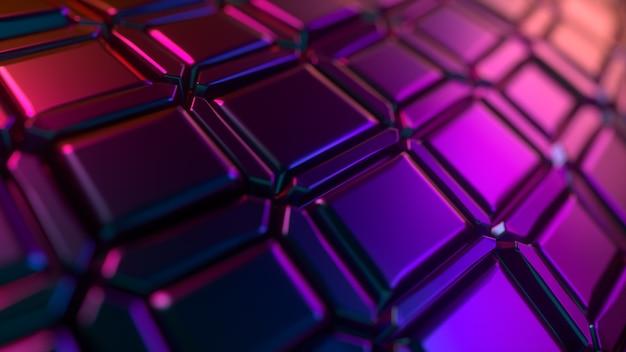 幾何学模様の抽象的なネオン色3d背景