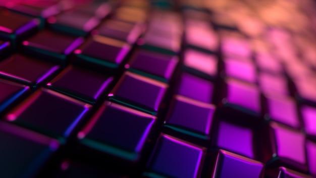抽象的なネオンはランダムな立方体の形で3d背景を着色します
